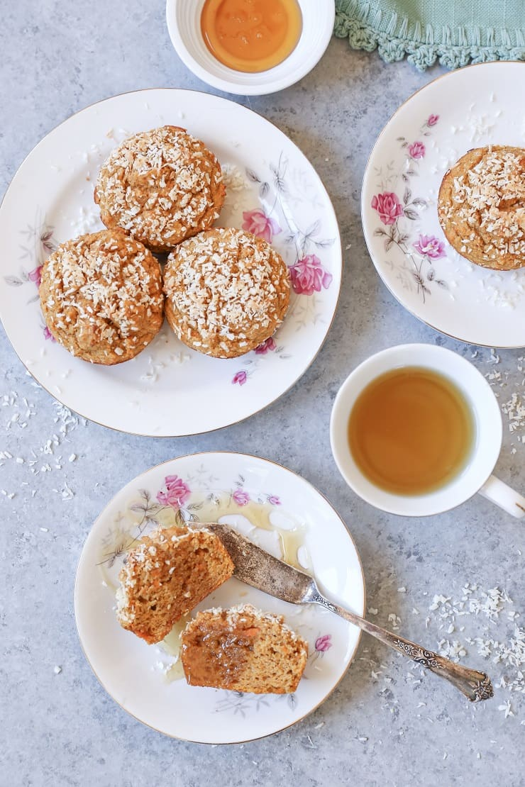 Gluten-Free Sweet Potato Muffins - made with rice flour, coconut flour, and naturally sweetened with pure maple syrup for a healthy breakfast or snack!