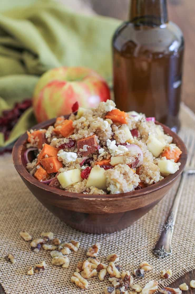 Roasted Sweet Potato Quinoa Salad with Orange Vinaigrette plus apples, walnuts, red onion, and goat cheese - a healthy side dish!