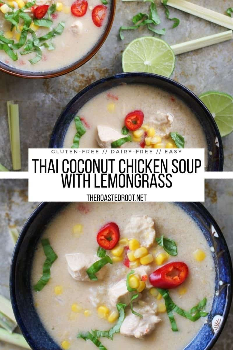 Thai Coconut Chicken Soup with lemongrass, ginger, and garlic - an easy healthy soup recipe loaded with authentic Thai flavors