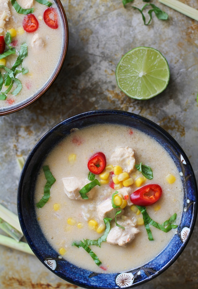 Thai Chicken Coconut Soup with Lemongrass