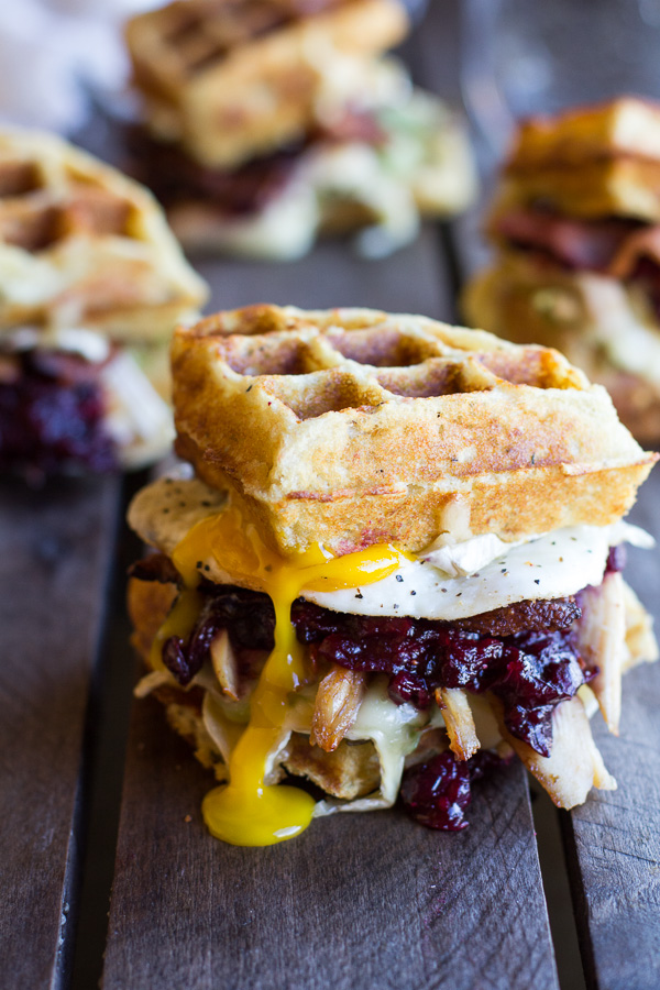 Turkey, Cranberry, Brie, Mashed Potato Waffle Melts from Halfbaked Harvest