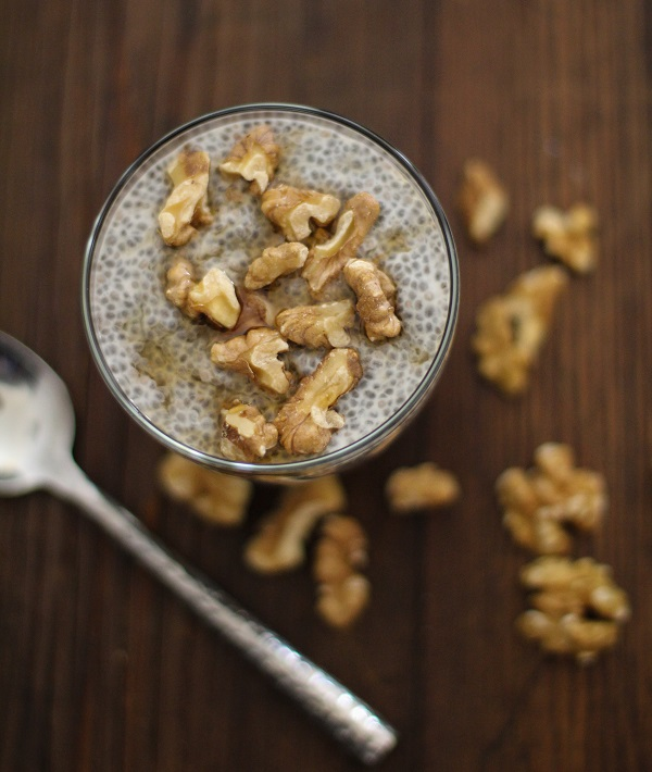 Maple Walnut Chia Seed Pudding - a healthy, vegan dessert that takes seconds to make! | http://www.theroastedroot.net