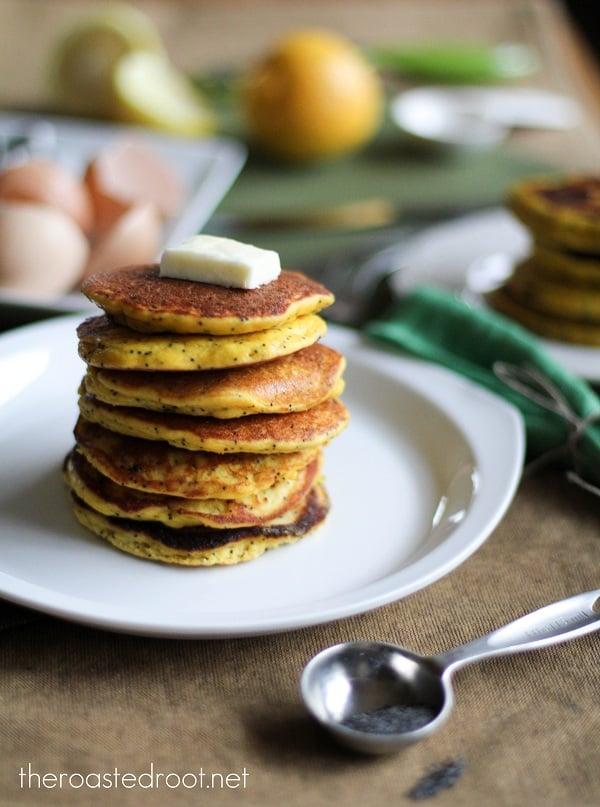 Lemon Poppy Seed Coconut Flour Pancakes | www.theroastedroot.net