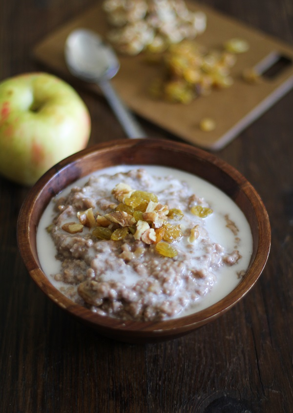 Apple Cinnamon Crock Pot Steel Cut Oatmeal | The Roasted Root