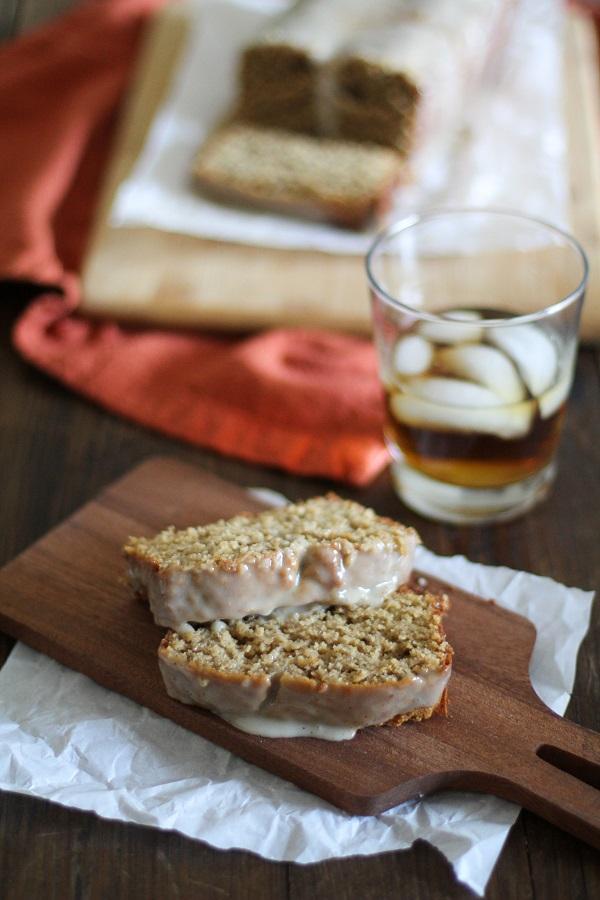 Eggnog Bread with Boozy Maple Glaze (gluten free) | www.theroastedroot.net #glutenfree