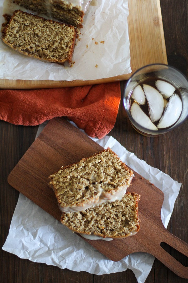 Eggnog Bread with Boozy Maple Glaze (gluten free) | www.theroastedroot.net #glutenfree