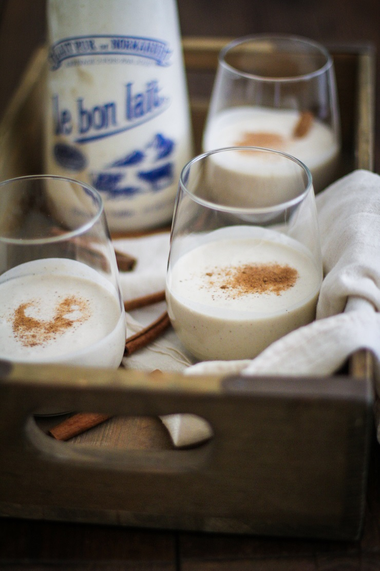 Vegan Eggnog | TheRoastedRoot.net - a dairy-free, refined sugar-free, and healthier take on eggnog. Paleo-friendly! #paleo #vegan #recipe