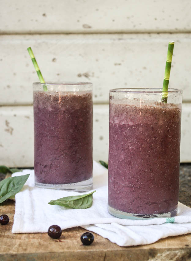 Blueberry Basil Power Smoothie from Dishing Up the Dirt