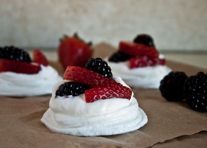 Mixed Berry Mini Pavlovas (guest post from @dessertfortwo) | www.theroastedroot.net
