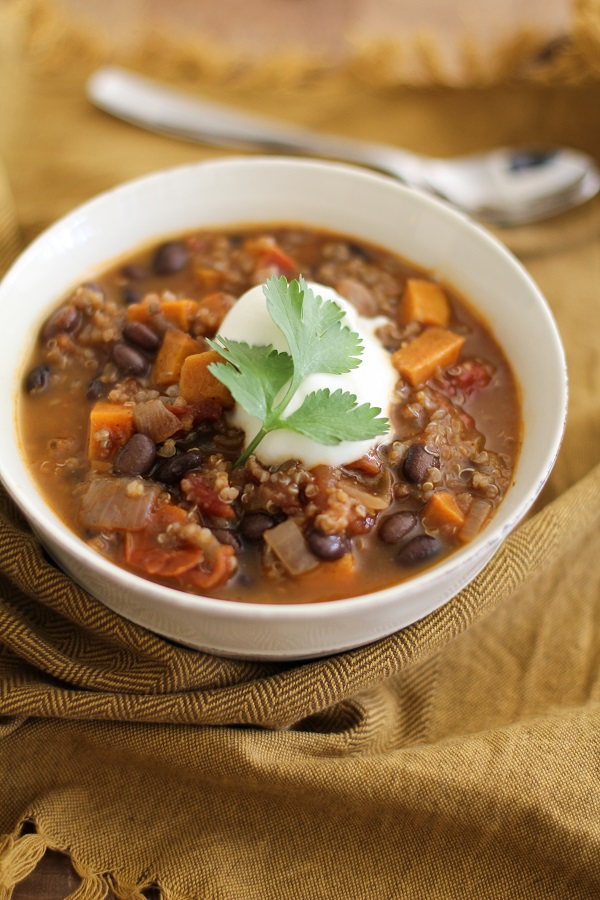 Sweet Potato, Black Bean, and Quinoa Chili