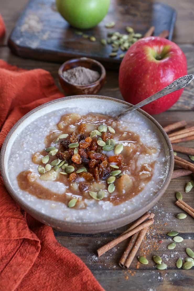 Crock Pot Apple Cinnamon Steel Cut Oatmeal - gluten-free, dairy-free, refined sugar-free and healthy!