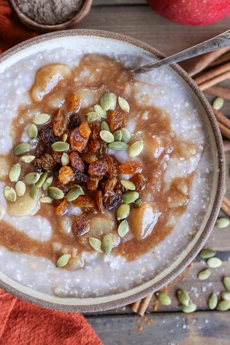 Apple Cinnamon Crock Pot Steel Cut Oatmeal - refined sugar-free, gluten-free, and healthy breakfast