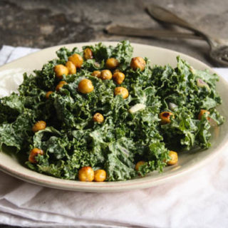 Kale Cesar Salad with Garlicy Chickpea Croutons (guest post)