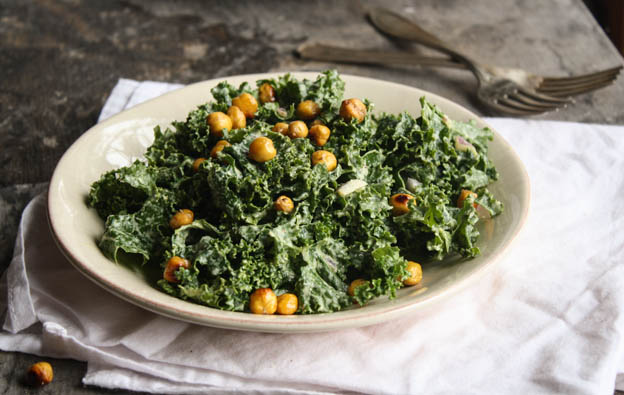 Kale Cesar Salad with Garlicy Chickpea Croutons