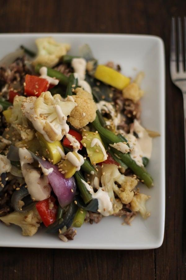 Vegetable Stir Fry with Coconut Tahini Sauce | www.theroastedroot.net