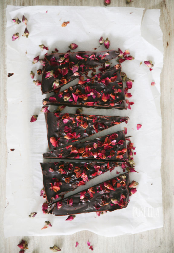 Pure Passion Rose Petal Dark Chocolate Bar from Pure Ella
