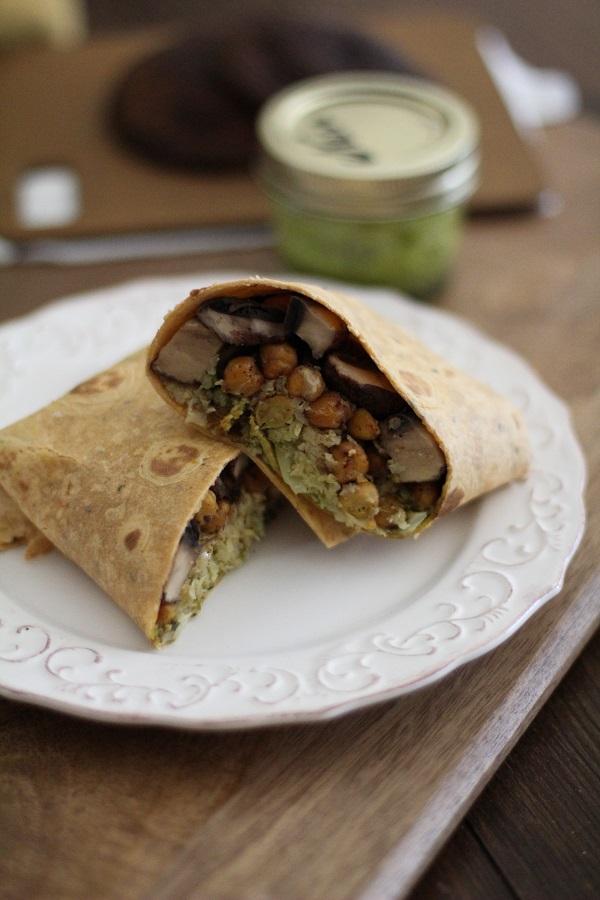 Veggie burritos with roasted portobello mushrooms, chickpeas, cauliflower rice, and chimichurri sauce | theroastedroot.net #vegetarian #recipe