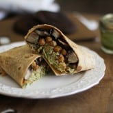 Roasted Portobello and Chickpea Burritos with Chimichurrri Sauce and Cauliflower Rice