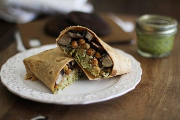 Roasted Portobello and Chickpea Burritos with Chimichurrri Sauce and Cauliflower Rice