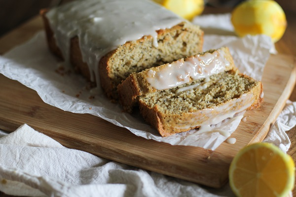 Gluten Free Lemon Poppy Seed Bread with Honey-Lemon Glaze