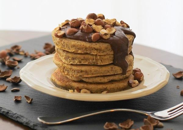 Hazelnut Pancakes with Chocolate Coconut Cream (gluten free)   www.theroastedroot.net