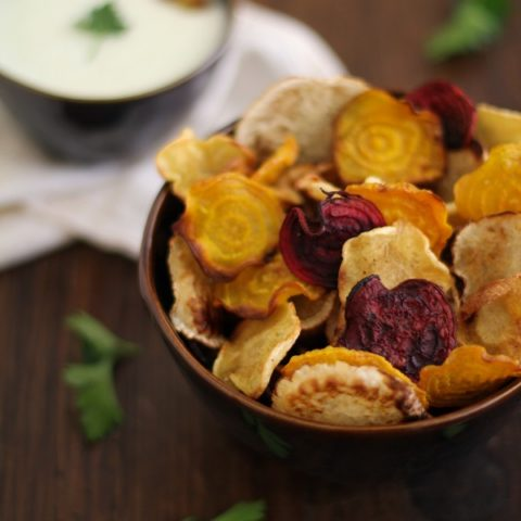 Baked Root Chips with Buttermilk-Parsley Dipping Sauce