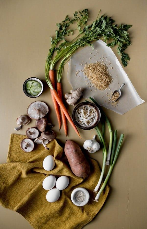 Ingredients for Vegetarian Bibimbap