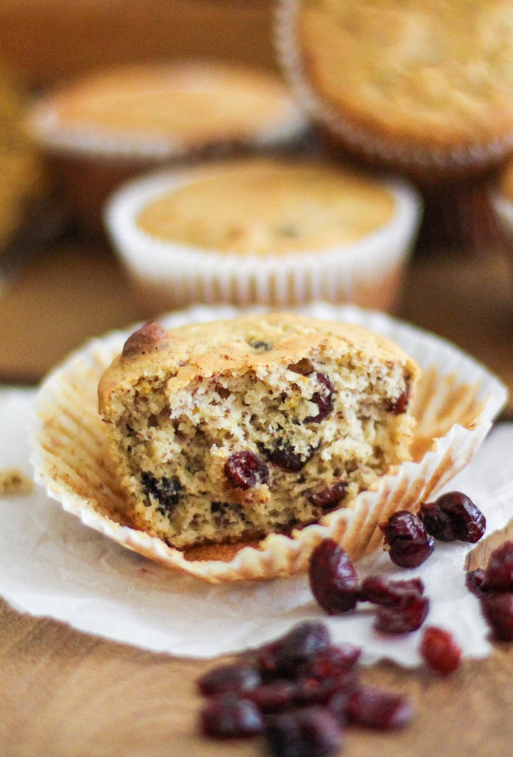 Gluten Free Cranberry Orange Muffins - naturally sweetened and healthy! | TheRoastedRoot.net #healthy #muffins #recipe #glutenfree
