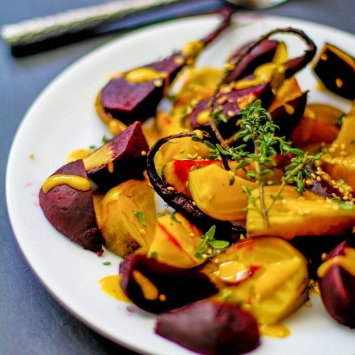 Roasted Beets with Orange-Tahini Dressing | TheRoastedRoot.net #healthy #recipe #paleo #vegan