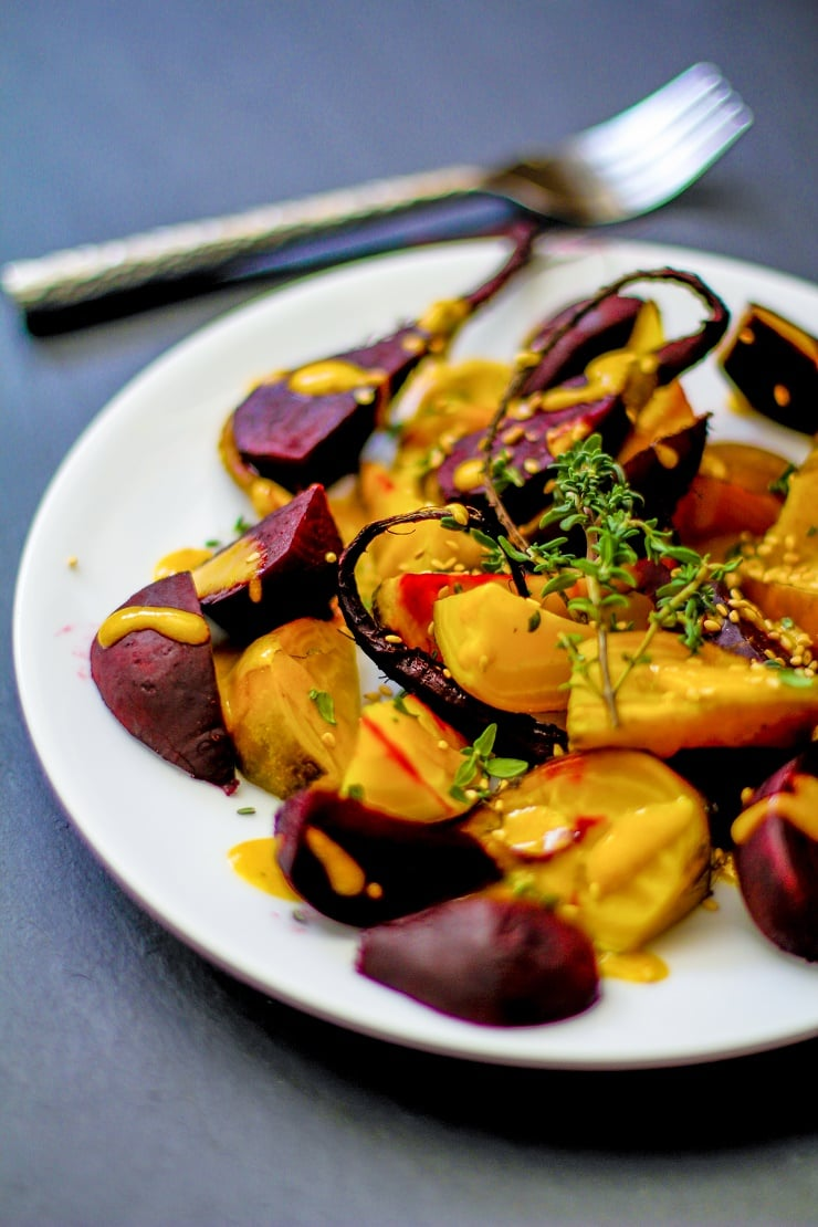Roasted Beets with Orange-Tahini Dressing | TheRoastedRoot.net #healthy #recipe #paleo #vegan