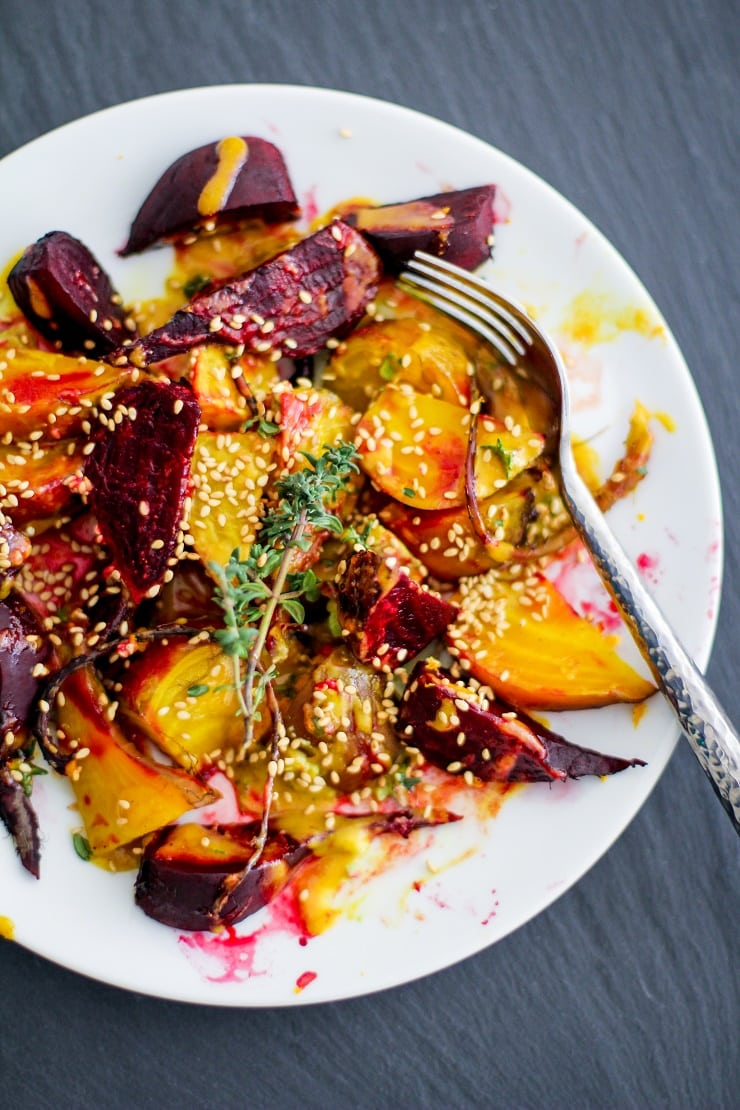Roasted Beets with Orange-Tahini Dressing   TheRoastedRoot.net #healthy #recipe #paleo #vegan