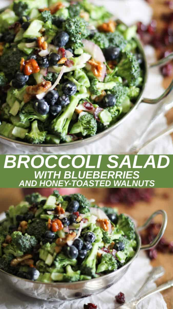 collage of two images of broccoli salad with blueberries and candied walnuts