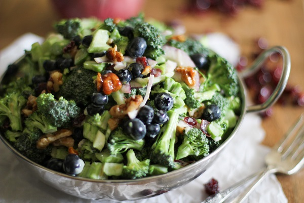 Broccoli Salad with Blueberries and Honey-Toasted Walnuts
