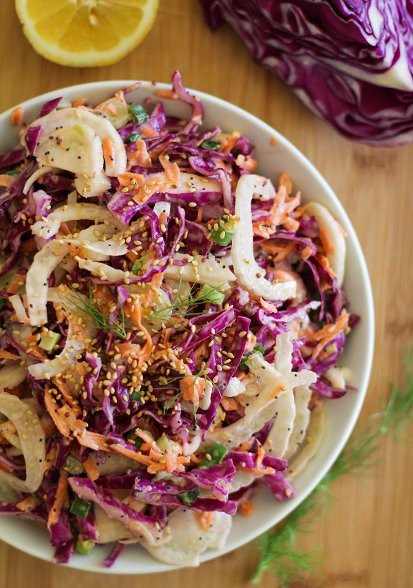 Fennel and Cabbage Slaw (mayo-free)