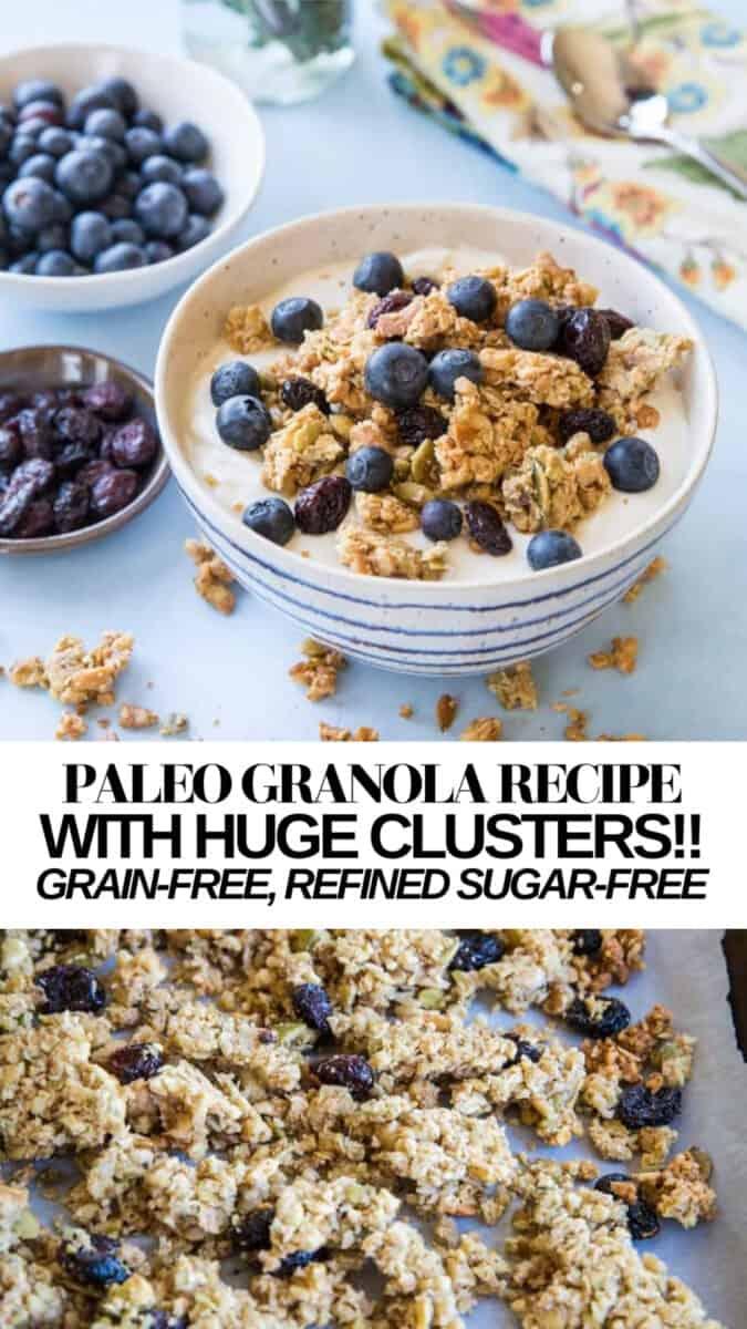 Grain-Free Paleo Granola with SUPER large granola clusters. Refined sugar-free, gluten-free, dairy-free