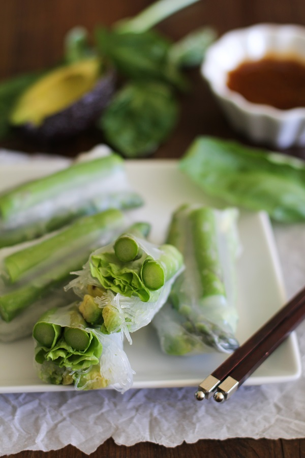 Asparagus and Avocado Spring Rolls with Citrus Dipping Sauce #vegetarian #appetizer #recipe #glutenfree