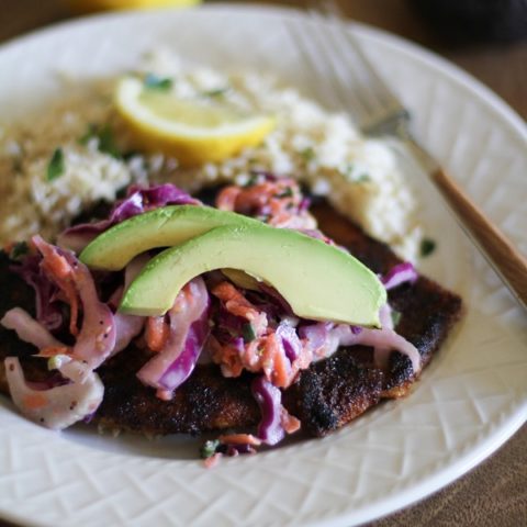 Blackened Tilapia with Fennel and Cabbage Slaw
