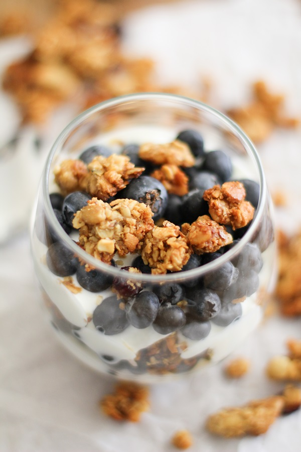 Blueberry and Granola Parfait with homemade #paleo granola