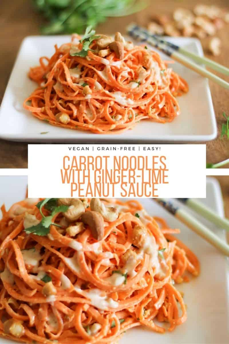 Carrot Noodles with Ginger-Lime Peanut Sauce - an easy vegan main dish or side dish - includes a paleo/whole30 option. Grain-free, dairy-free, vegetarian, plant-based and healthy