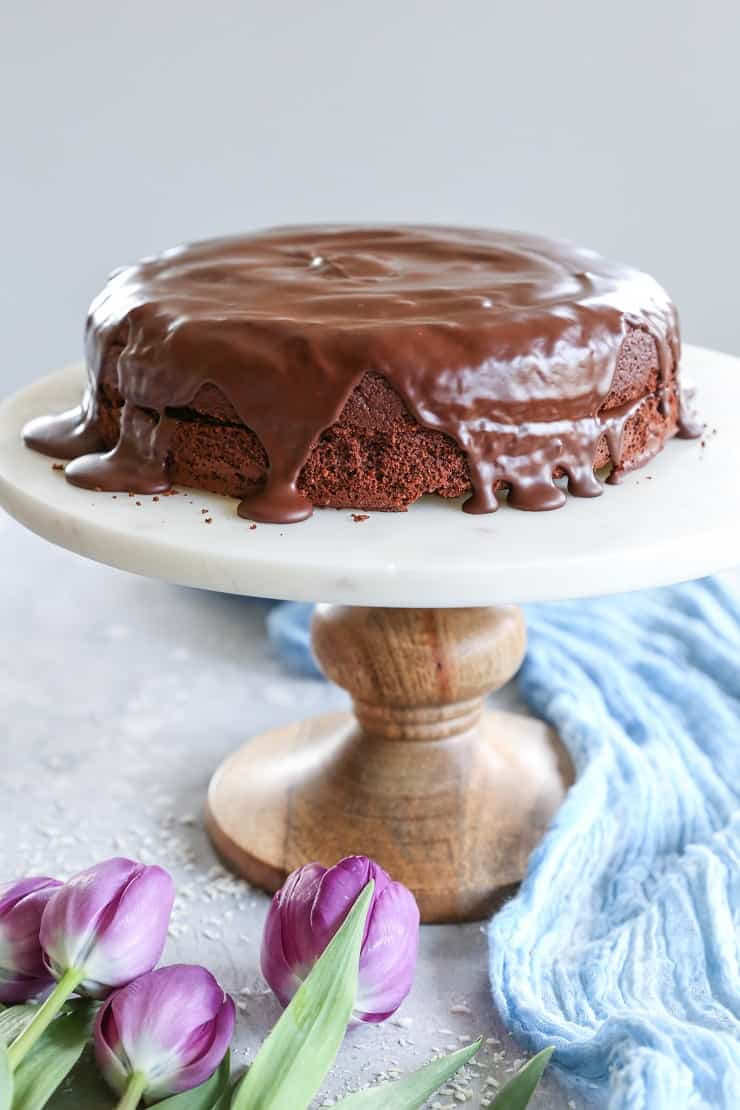 Grain Free Chocolate Cake (Paleo) made with almond flour - dairy-free, refined sugar-free, and paleo