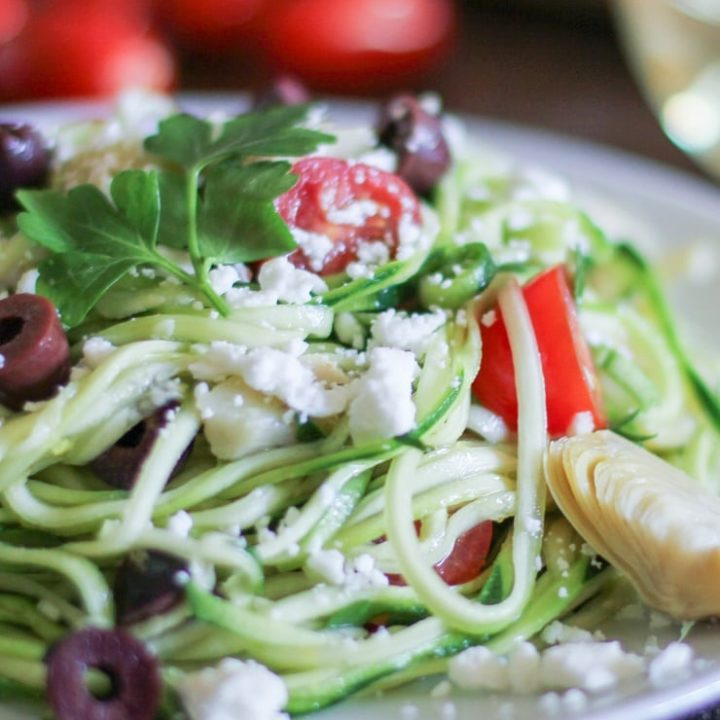 Mediterranean Zoodles - a quick and easy dinner that can be whipped up in 30 minutes | TheRoastedRoot.net #healthy #glutenfree #recipe