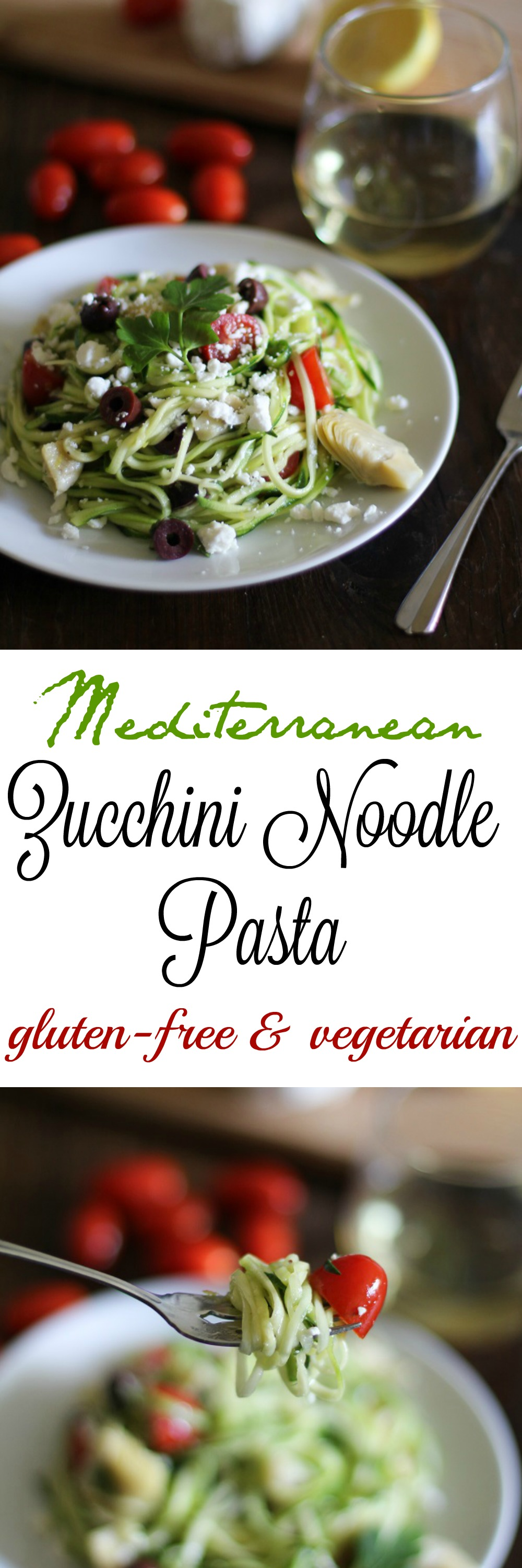 Mediterranean Zucchini Noodle Pasta with kalamata olives, tomatoes, artichoke hearts, and feta | TheRoastedRoot.net #healthy #dinner #recipe #glutenfree