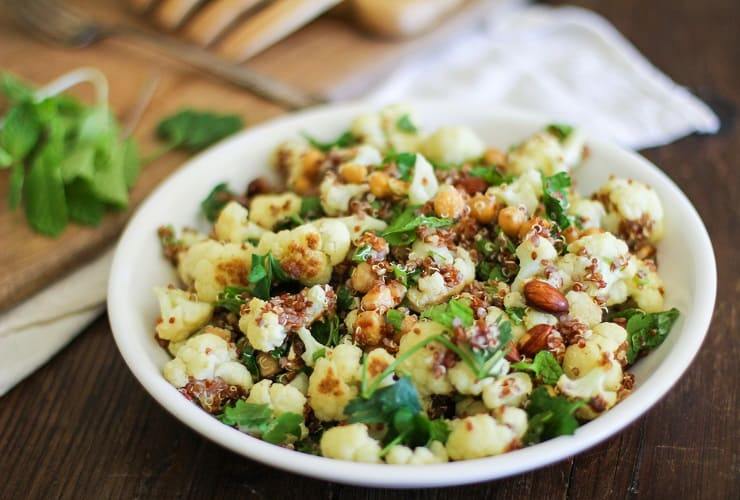 Roasted Cauliflower Quinoa Salad with Chickpeas and lime vinaigrette