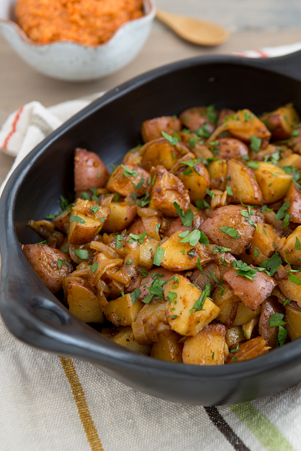 Smokey Braised Potatoes with Spicy Romesco Sauce