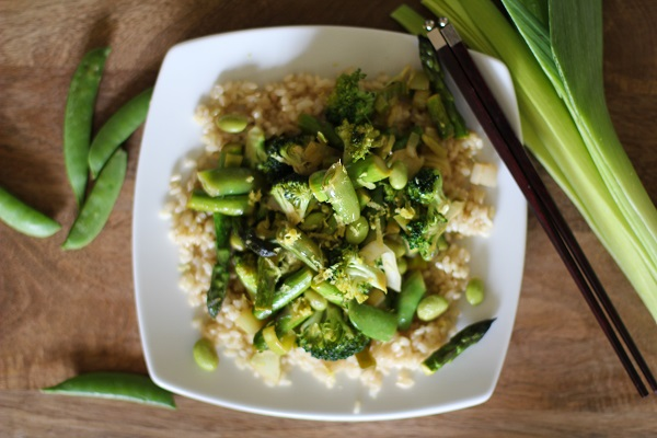 Spring Green Vegetable Stir Fry with Lemon-Ginger Sauce