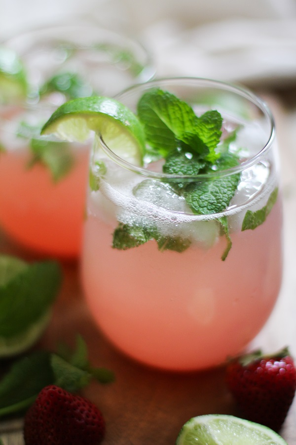 Strawberry Rhubarb Mint Mojitos