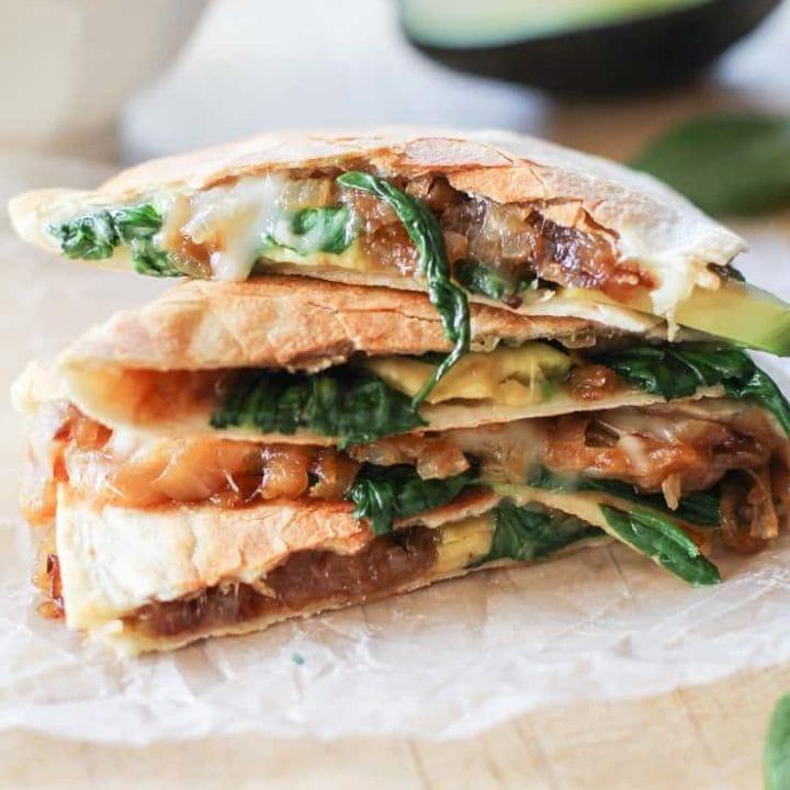 Caramelized Onion, Spinach, and Avocado Quesadilla #vegetarian #healthy #recipe
