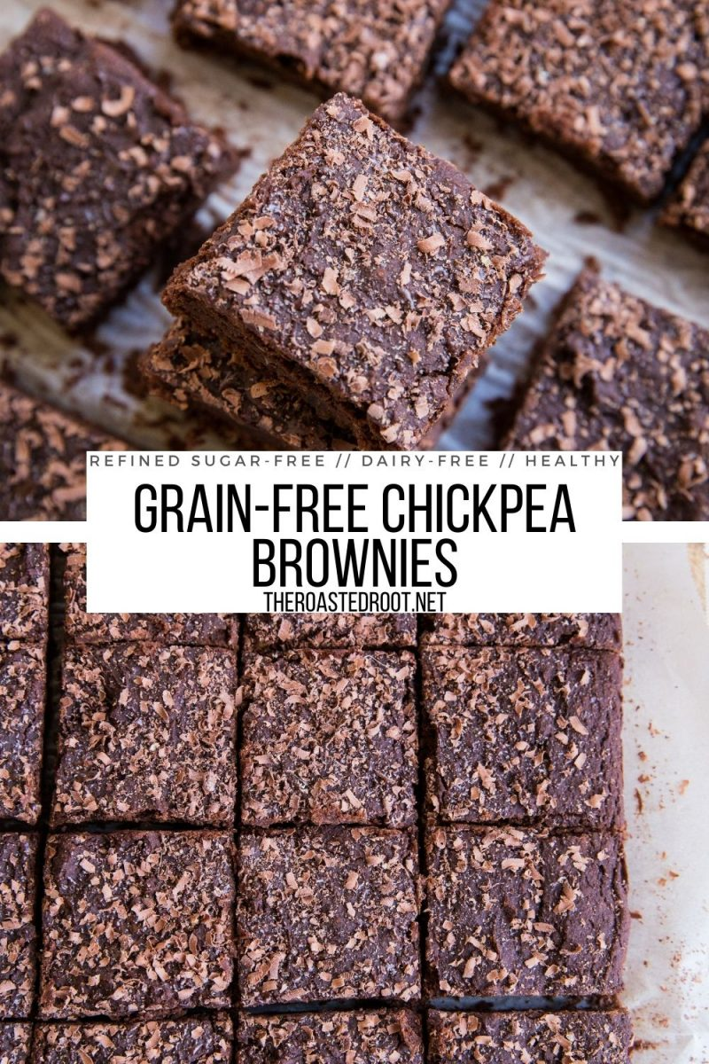Grain-Free Chickpea Brownies - rich healthy brownie recipe made with garbanzo beans! Grain-free, gluten-free, dairy-free, refined sugar-free and healthy!