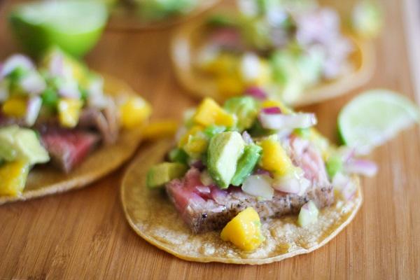 Seared Ahi Tacos with Mango Avocado Salsa