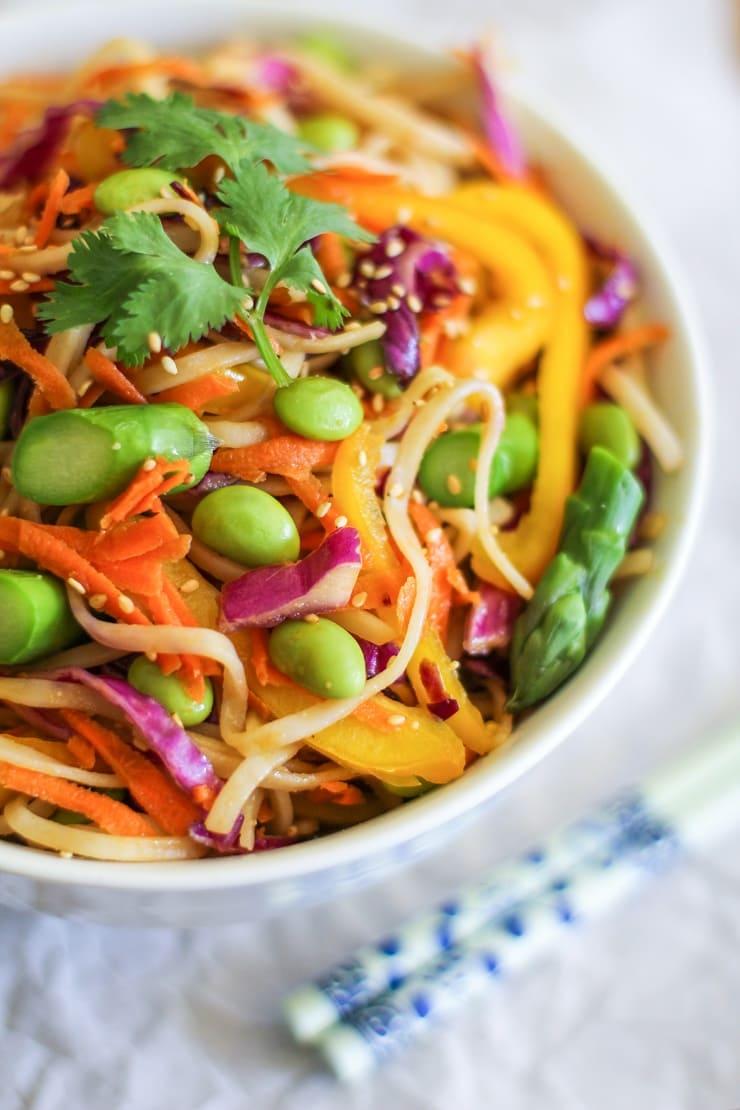 Spring Vegetable Pad Thai - vegan and gluten free | TheRoastedRoot.net #healthy #recipe #vegetarian